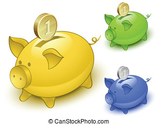pig-moneybox-coin56jpg - Piggy bank set Save money concept...