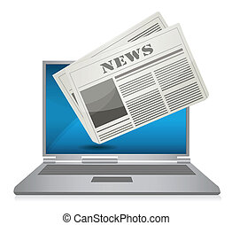 Online News concept illustration design over a white...