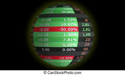 World financial market loop - Spinning globe with stock...