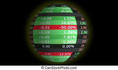 World stock market collapsed - Spinning globe with stock...