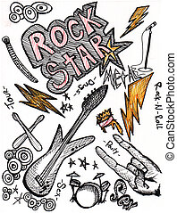 rockstar hand drawing doodles