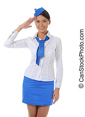 Attractive stewardess - Attractive young stewardess isolated...