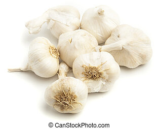 garlic bulbs isolated on a white background