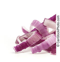 purple onion slices on a white background