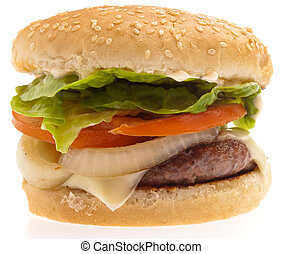 burger - complete burger isolated on a white background