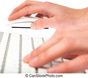 man typing with keyboard