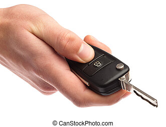 electronic key of car - man holding a electronic key of car
