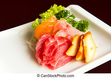 Sashimi - Japanese food sashimi mix with salmon, tuna and...
