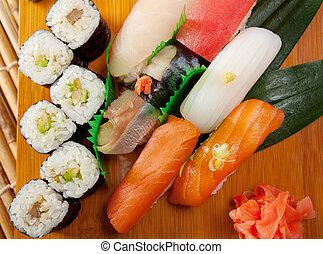 Japanese sushi Roll made of Smoked fish - Japanese sushi...