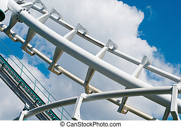 coaster construction - curved rollercoaster tracks at the...