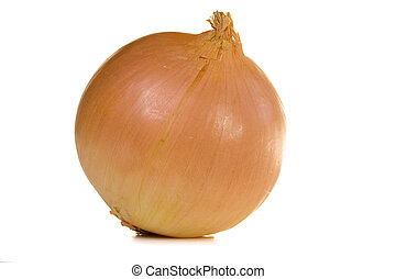 Yellow onion isolated on white background with clipping path