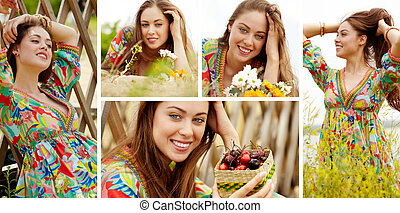 Girl on vacation - Collage of pretty young lady enjoying...