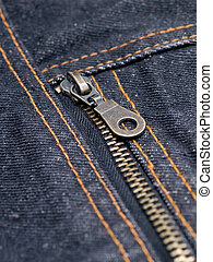 Jeans - buttoned zipper on dark jeans closeup