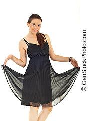 Beauty woman in elegant black dress