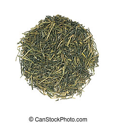 Japanese green Gyokuro tea most expensive leaf tea isolated...
