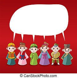cartoon chinese people speech ,card