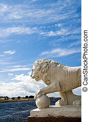 Guarding the sea gate - Imperial lion is guarding the sea...