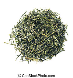 Japanese green premium Sencha tea isolated over white