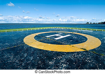 Helipad - Empty helipad at the sea shore of Peterhof, Russia