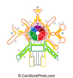Airport scheme - Colorful technical illustration of abstract...