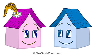 House smilie, girl and boy - toy small houses - friends,...