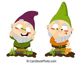 CÙte, caricatura, gramado, gnomes