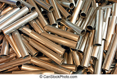cut metal pipes - cutted white metal short pipes in bulk