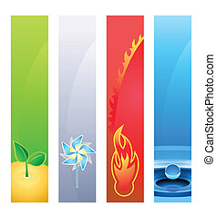 4 nature element banners - 4 nature element earth, wind,...