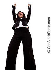 Business woman with arms raised over white, wide angle