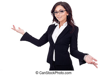 business woman smiling whit her arms open - Young business...
