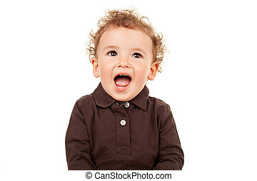 cute little boy talking - portrait of a cute little boy...