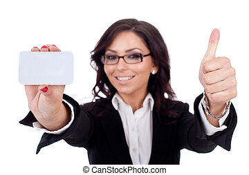 businesswoman holding blank business card giving thumbs up -...