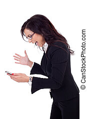 Angry businesswoman shouting to a mobile - Angry business...
