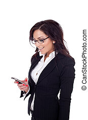 young bussiness woman texting a message - happy young...