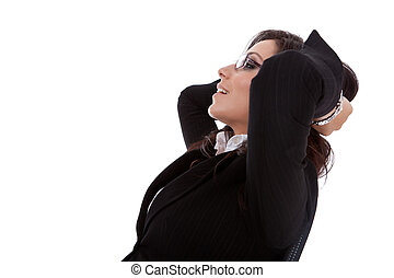 business woman leaning backon chair