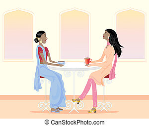coffee time - an illustration of two asian women drinking...