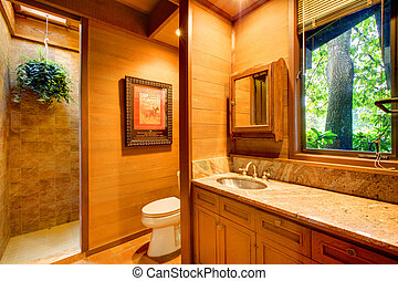 Bathroom with cider walls and tree views