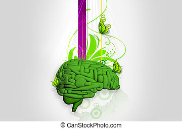 Brain in abstract background