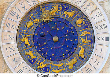Moon phase dial - Zodiac clock at San Marco square in Venice...