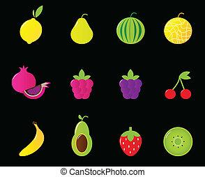 Fresh Fruit & berries icon set isolated on black - Fruit...