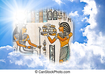 egyptian pharaoh in the clouds in sun beams