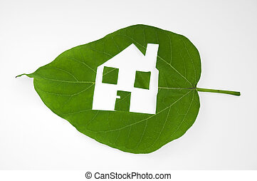 Leaf cutted house. Real estate