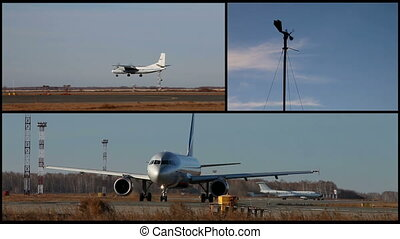 Collage flights - Video collage of airplanes fly and arrival...
