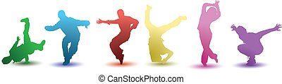 six bright colorful dancers - a silhouetted illustration of...
