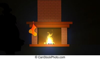 Christmas fireplace with socks and silhouette of Santa Claus...