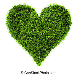Grass Heart - Grass heart isolated on white background, 3d...