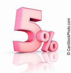 Pink Five Percent - Pink five percent, isolated on white...