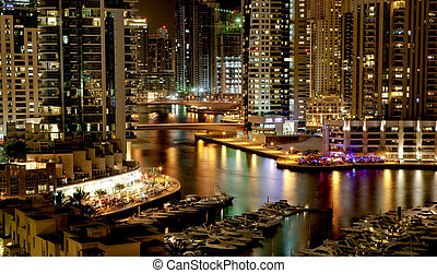 Town scape in the night Dubai