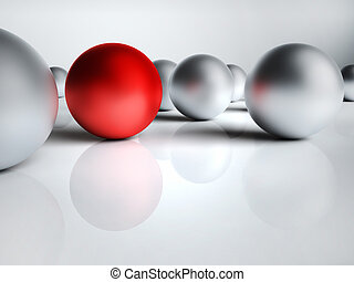 Red Ball - One red and several silver bullets, conceptual 3d...