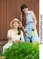 gardeners working with garden tools - Female gardeners...